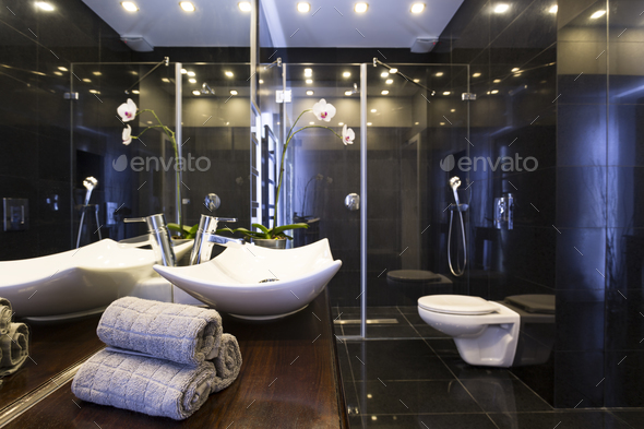 Black bathroom with shower - Stock Photo - Images