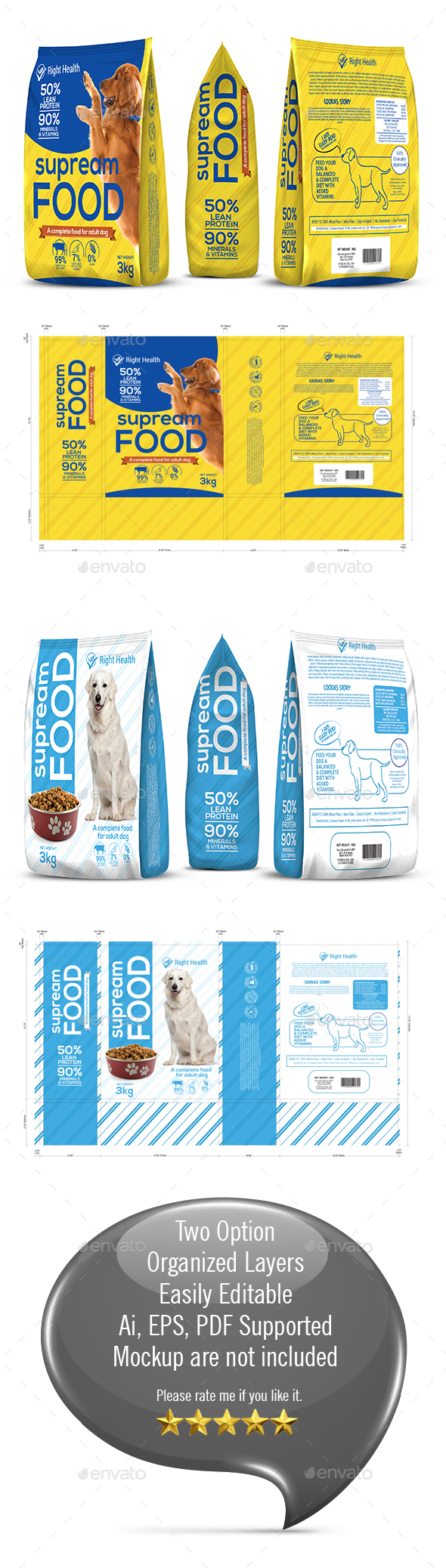 Dog Supplement Packaging Template-2 - Packaging Print Templates