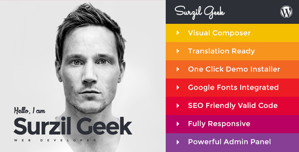 Geek – Personal Resume & Portfolio WordPress Theme