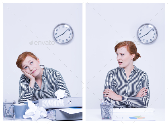 Boredom and indignation at work - Stock Photo - Images