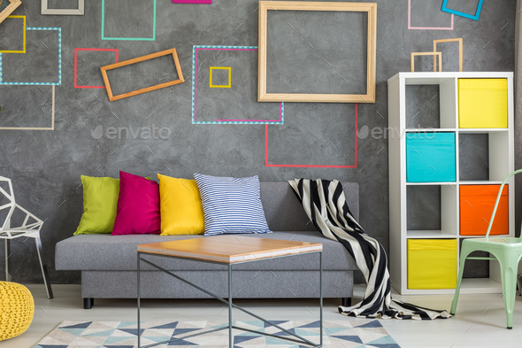 Concrete wall with colored frames - Stock Photo - Images