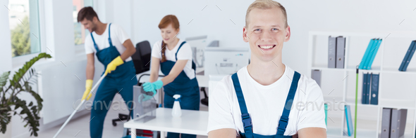 Cooperation in cleaning offices - Stock Photo - Images