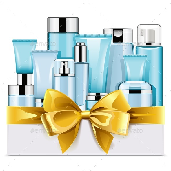 Blue Cosmetics with Golden Bow - Health/Medicine Conceptual