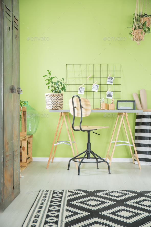 Green home office with desk - Stock Photo - Images