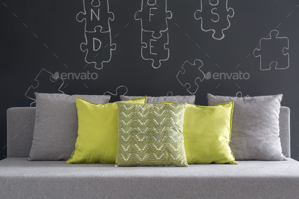 Sofa with green cushions - Stock Photo - Images