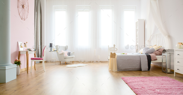 Light bedroom with floor panels - Stock Photo - Images
