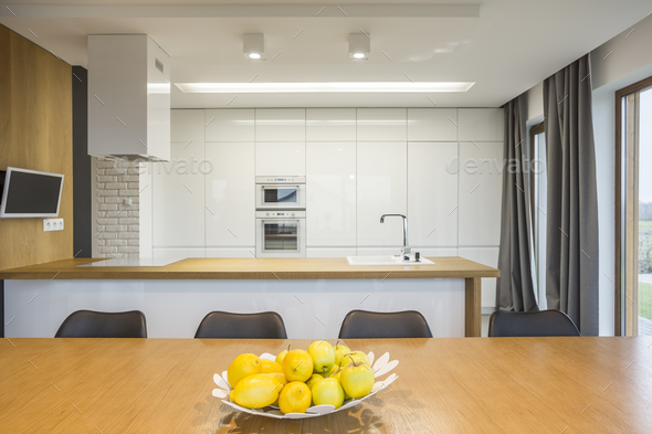 Open plan kitchen interior - Stock Photo - Images