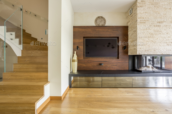 House area with the fireplace - Stock Photo - Images