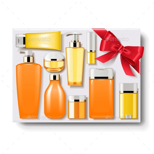 Gift Box with Cosmetics - Miscellaneous Vectors