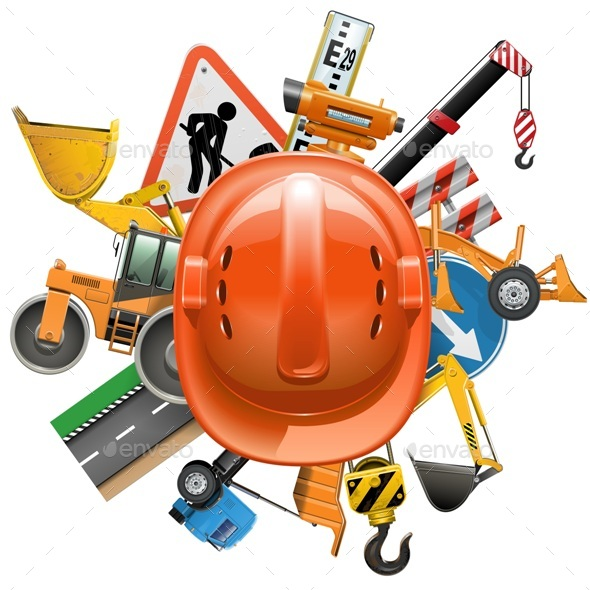 Road Construction Concept with Helmet - Industries Business