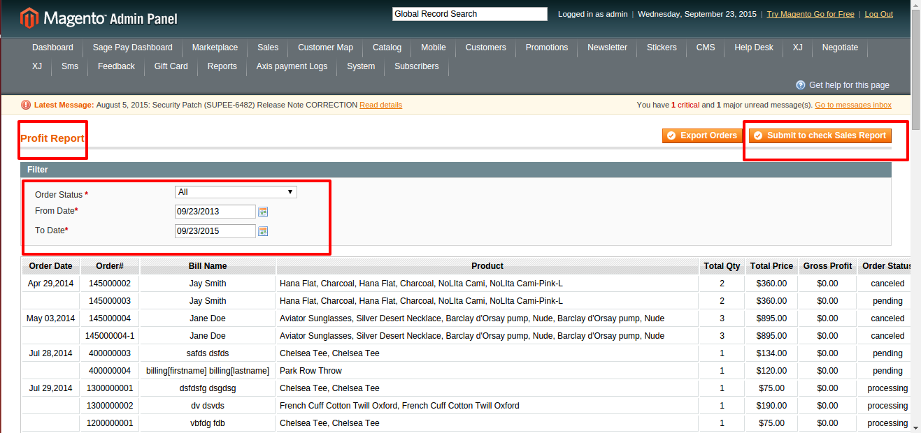 Magento coupons usage report