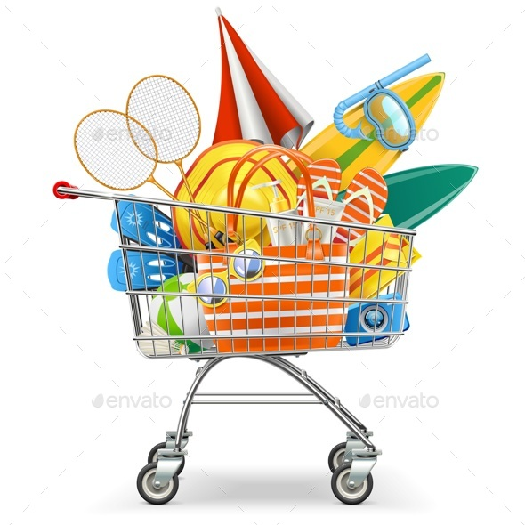Vector Supermarket Cart with Beach Accessories - Retail Commercial / Shopping