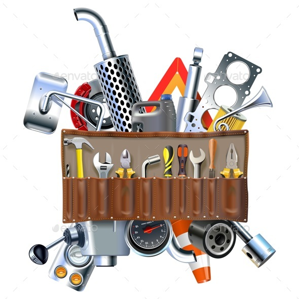 Vector Tool Kit with Car Spares - Industries Business