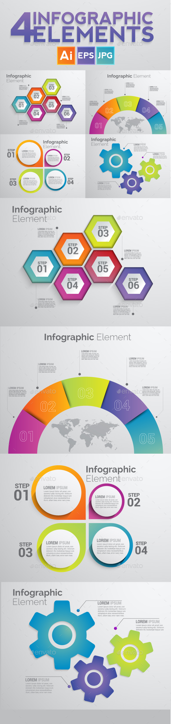 Set of 4 Infographic Elements Templates - Infographics