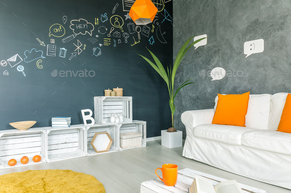 Apartment with white sofa - Stock Photo - Images