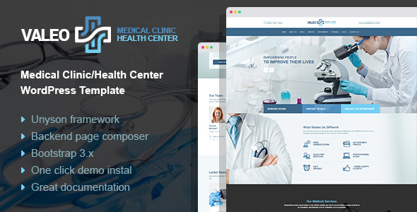 Valeo – health center, clinic and hospital WordPress Theme