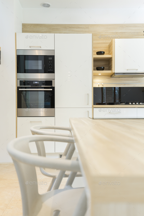 Modern kitchen with built-in oven - Stock Photo - Images