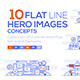 Set of Flat Line Color Banners - GraphicRiver Item for Sale