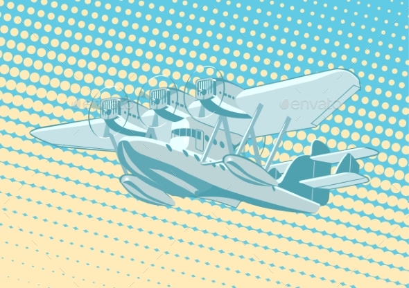 Cartoon Retro Sea Plane - Man-made Objects Objects