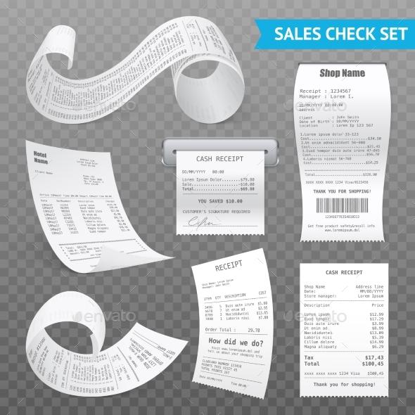 Cash Register Receipts Realistic Transparent Set - Concepts Business