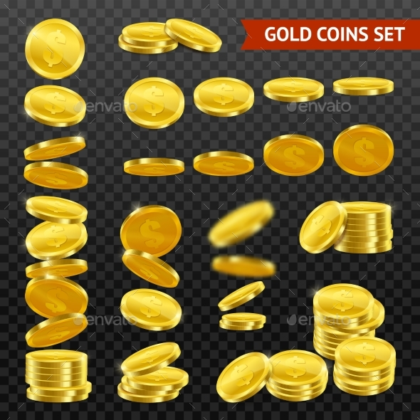 Realistic Gold Coins Transparent Set - Man-made Objects Objects