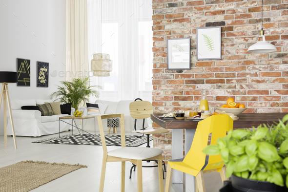 Apartment with open living room - Stock Photo - Images