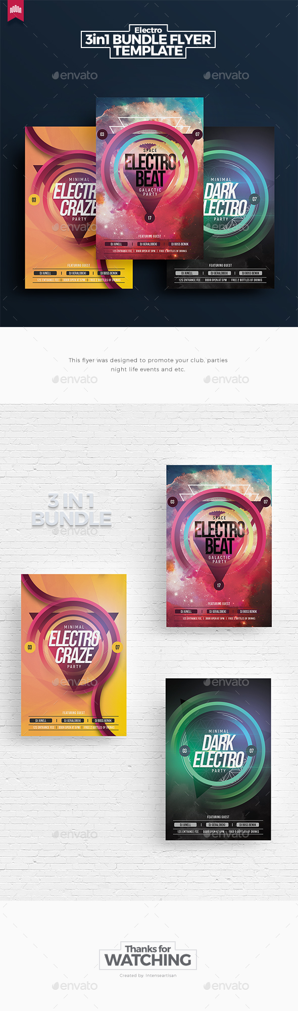 Electro Bundle 1 - Flyer Template - Clubs & Parties Events