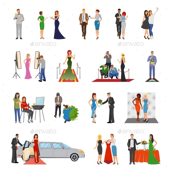 Celebrity Flat Colored Decorative Icons - People Characters