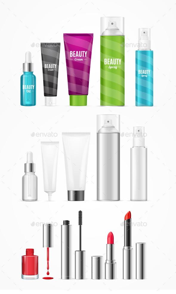 Realistic Beauty Template Bottles Set - Man-made Objects Objects