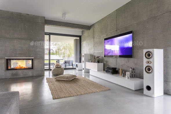 Tv living room with window - Stock Photo - Images