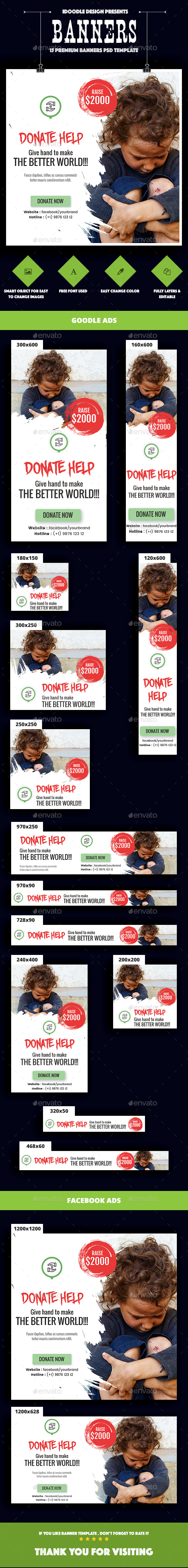 Nonprofit - NGO, Charity/Fundraising Banner Ads - Banners & Ads Web Elements