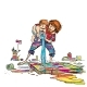 Artist with His Son Paint a Picture - GraphicRiver Item for Sale