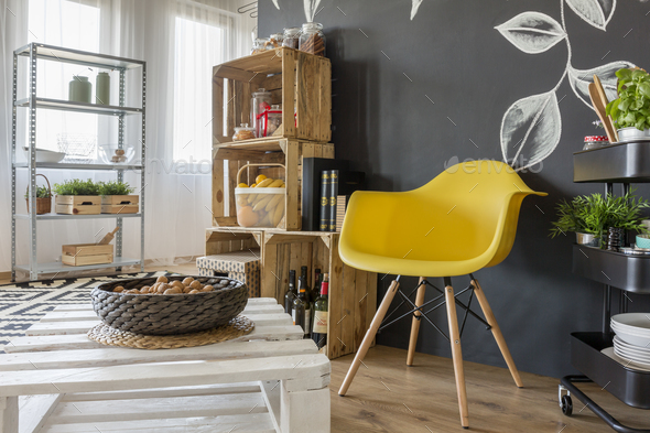 Room with pallets furniture - Stock Photo - Images