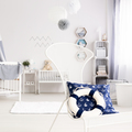 White nursery with navy decorations