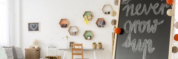 Blackboard in cozy play room - Stock Photo - Images