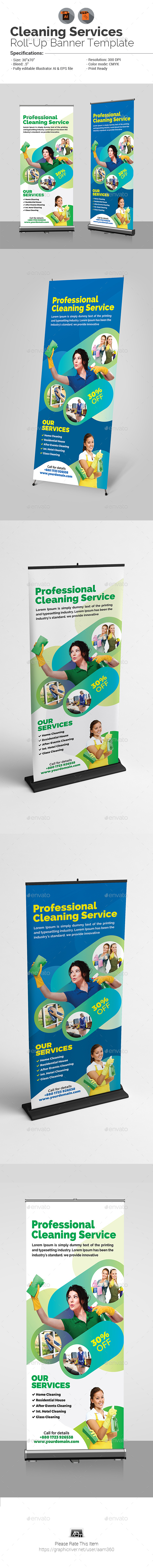 Cleaning Service Roll-Up Banner - Signage Print Templates