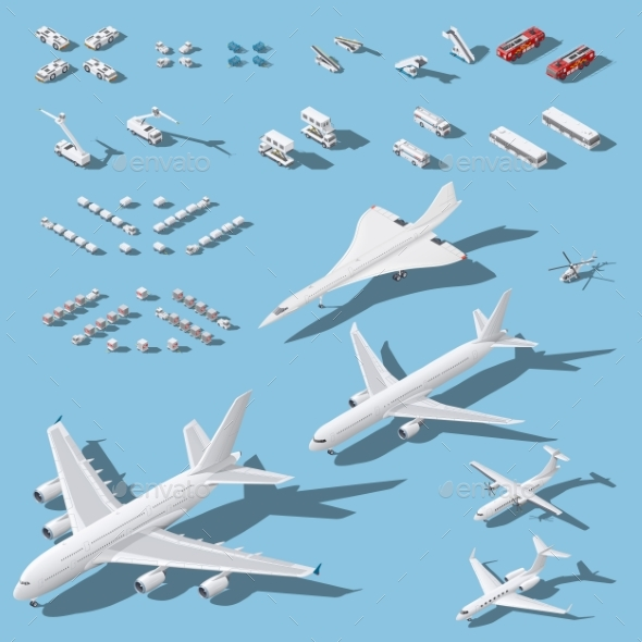 Various Passenger Airplanes and Maintenance - Travel Conceptual