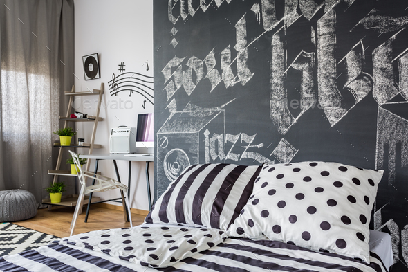 Black and white bedroom - Stock Photo - Images