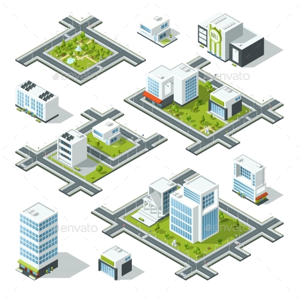 Isometric City 3d Vector Illustration with Office - Miscellaneous Vectors