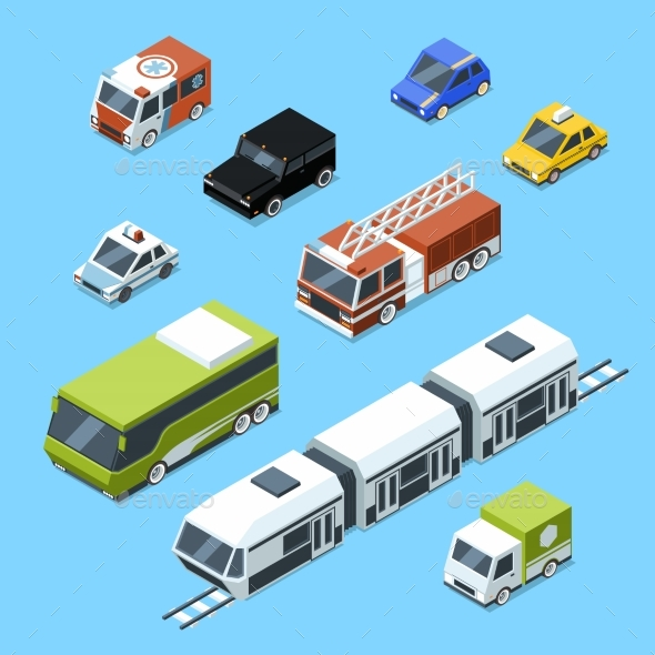 Vector Isometric Transport, 3d Car Icons Set - Objects Vectors