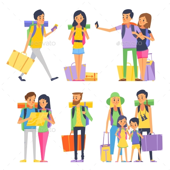 Tourist Group of Happy People Goes To Vacation - People Characters