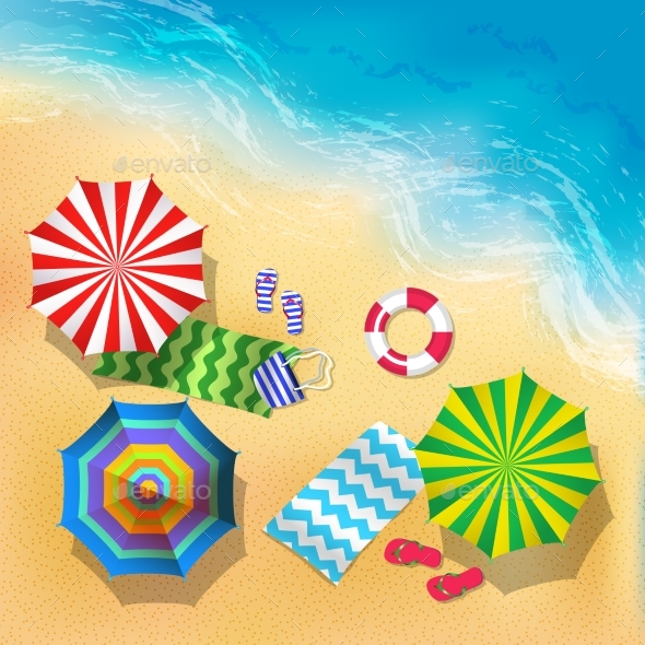 Top View Vector Illustration of Beach, Sand - Miscellaneous Vectors