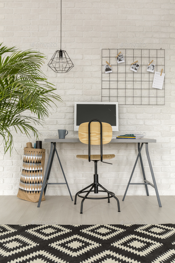 Home office in industrial style - Stock Photo - Images