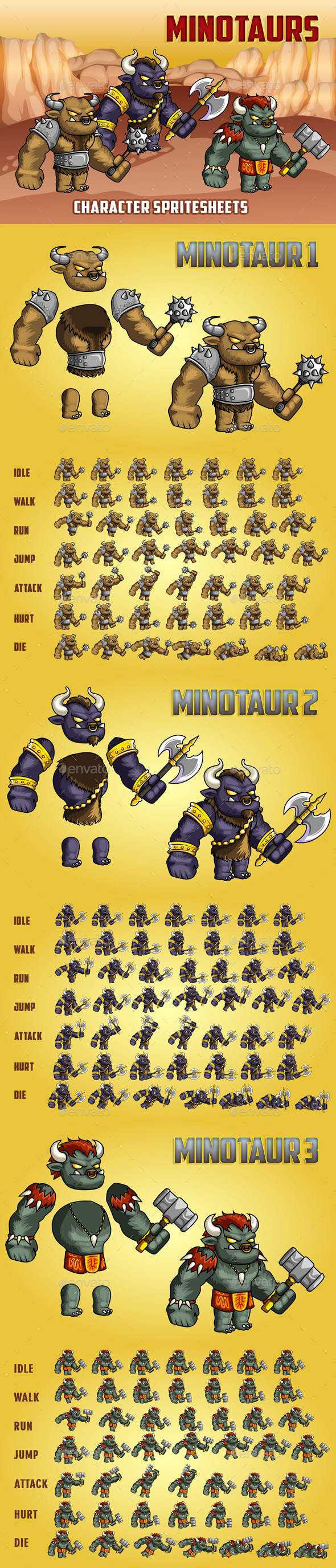 Minotaurs 2D Game Character Sprite Sheet - Sprites Game Assets