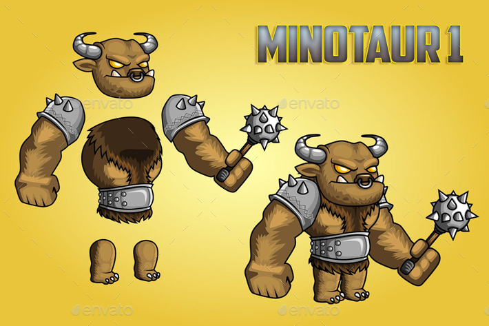 Minotaurs 2D Game Character Sprite Sheet