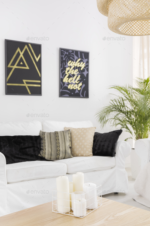 White living room with sofa - Stock Photo - Images