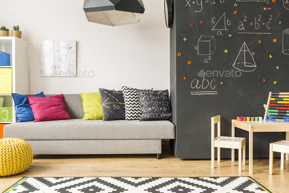 Modern room with patterned carpet - Stock Photo - Images