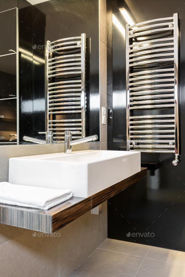 Minimalist modern bathroom interior - Stock Photo - Images