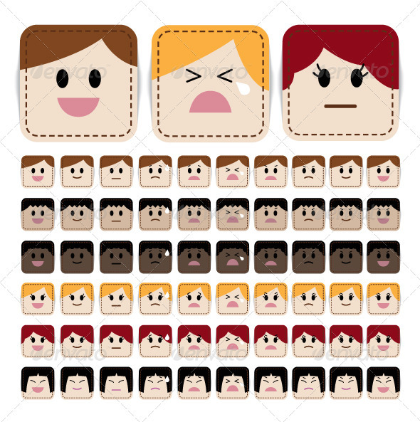 Stitched Face Expression - People Characters