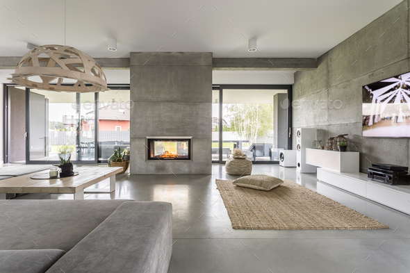 Spacious villa with cement wall - Stock Photo - Images